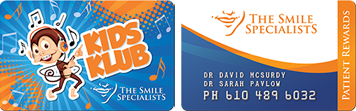 Kids Klub and Smile Specialists rewards cards